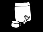 子供用の歯ブラシとコップの白黒イラスト02