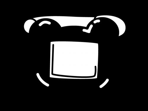 クマさんの名札の白黒イラスト