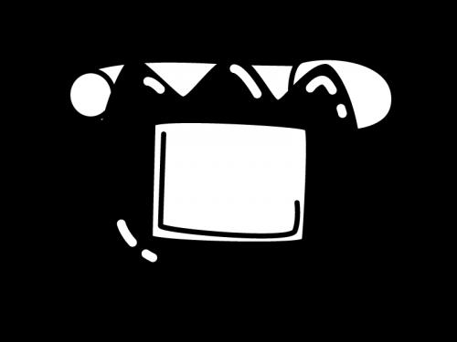チューリップの名札の白黒イラスト