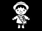 入園する園児の白黒イラスト02