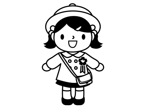入園する園児の白黒イラスト