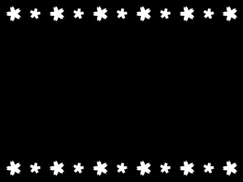 春・桜の上下フレーム・枠の白黒イラスト