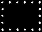 春・桜のフレーム・枠の白黒イラスト04