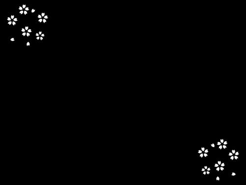 春・桜のフレーム・枠の白黒イラスト05