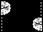 春・桜のフレーム・枠の白黒イラスト06