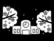 桜と学校の白黒イラスト