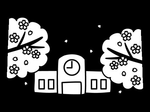 桜と学校の白黒イラスト かわいい無料の白黒イラスト モノぽっと
