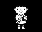 卒園する園児の白黒イラスト02