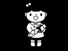 卒園する園児の白黒イラスト