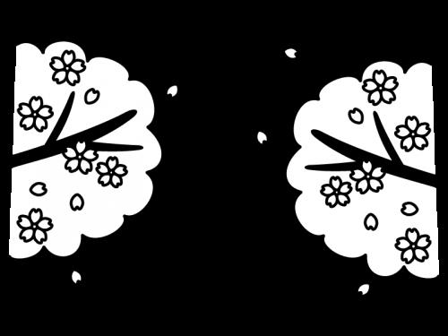 春・桜の白黒イラスト