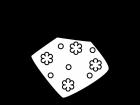花柄の手拭きタオルの白黒イラスト