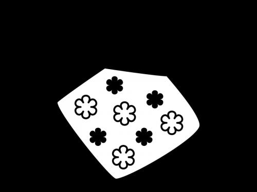 花柄の手拭きタオルの白黒イラスト02