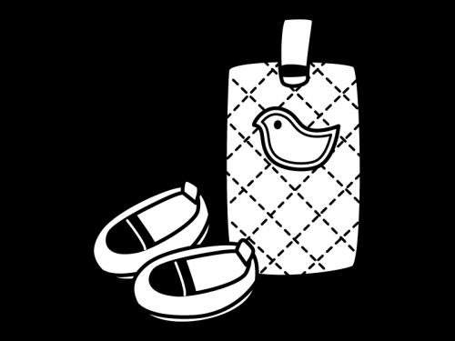 上履きと上履き入れの白黒イラスト