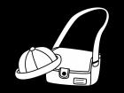 園児帽・通園バッグの白黒イラスト