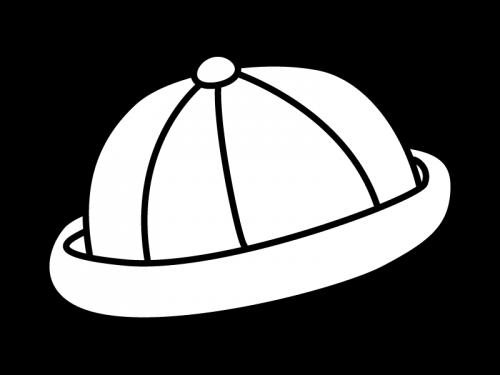 園児帽・スクール帽の白黒イラスト
