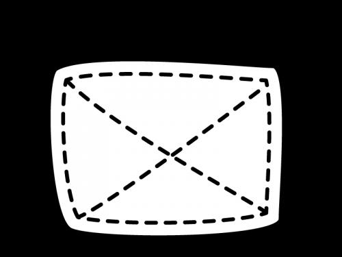 掃除・雑巾の白黒イラスト