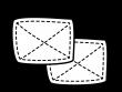 2枚の雑巾の白黒イラスト