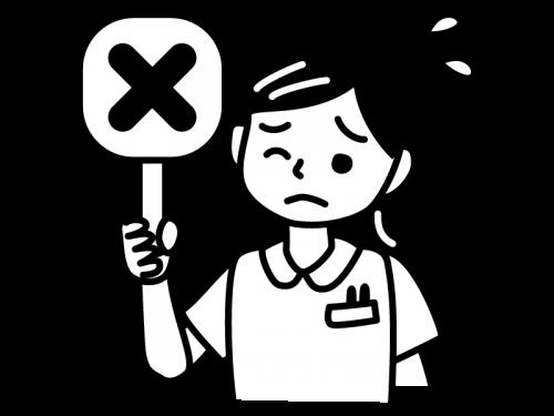 バツの札を持つナース・看護師の白黒イラスト