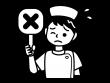 バツの札を持つナース・看護師の白黒イラスト02