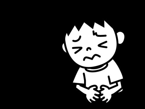 下痢・腹痛の白黒イラスト