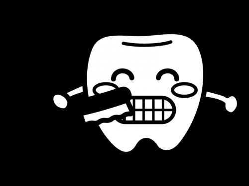 歯ブラシを持ったかわいい歯のキャラクターの白黒イラスト