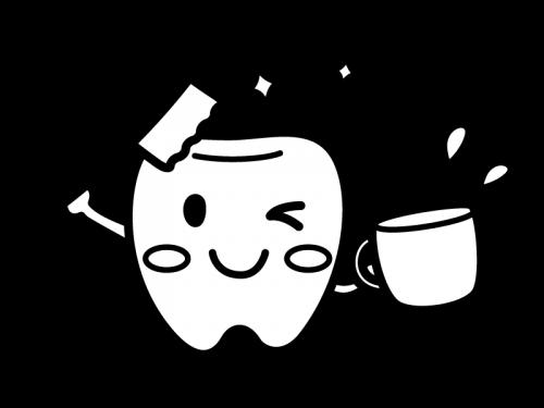 歯ブラシとコップを持った歯のキャラクターの白黒イラスト