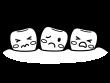 悪い歯並びの白黒イラスト