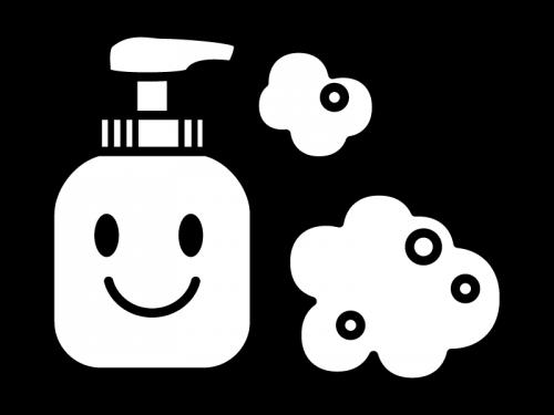 ハンドソープ・泡石鹸の白黒イラスト02