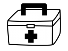 救急箱の白黒イラスト