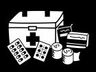 救急箱と薬などの白黒イラスト