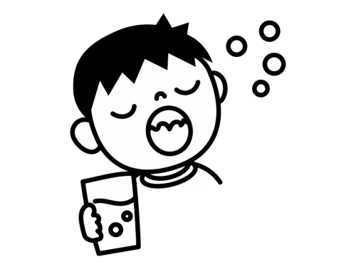 うがい・風邪予防の白黒イラスト