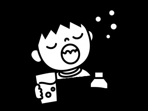 うがい薬でうがいする子供の白黒イラスト