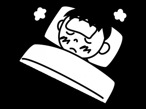 インフルエンザ・発熱で寝込む白黒イラスト