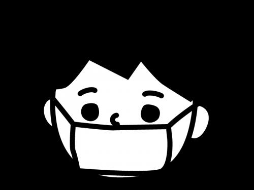 風邪・マスクしている子供の白黒イラスト