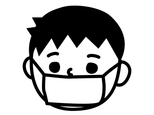 風邪・マスクしている子供の白黒イラスト02