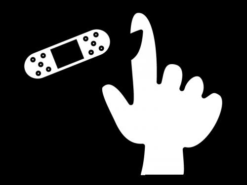 指の怪我・絆創膏の白黒イラスト02