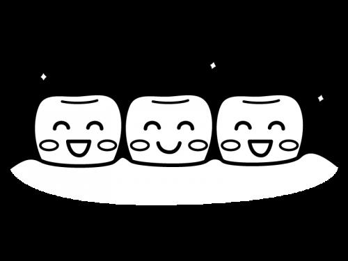 健康な歯並びの白黒イラスト