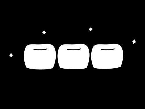 キレイな歯並びの白黒イラスト