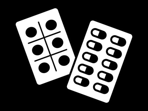 錠剤の薬の白黒イラスト