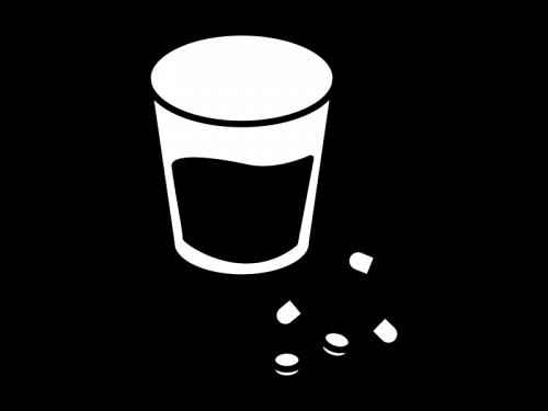 薬とコップの白黒イラスト