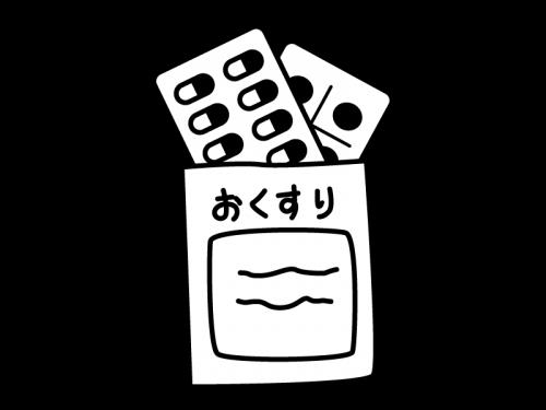 処方箋・錠剤の薬の白黒イラスト