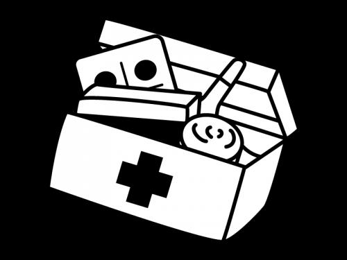 救急箱と薬などの白黒イラスト02