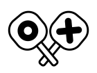 丸とバツの札の白黒イラスト
