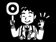 丸の札を持つ医師の白黒イラスト02