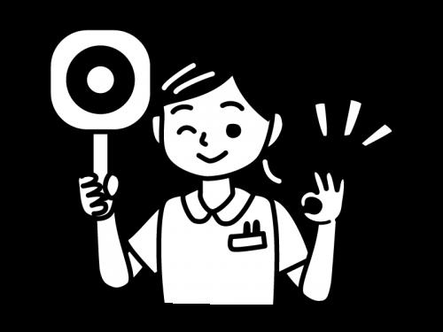 丸の札を持つナース・看護師の白黒イラスト