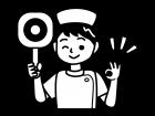 丸の札を持つナース・看護師の白黒イラスト02