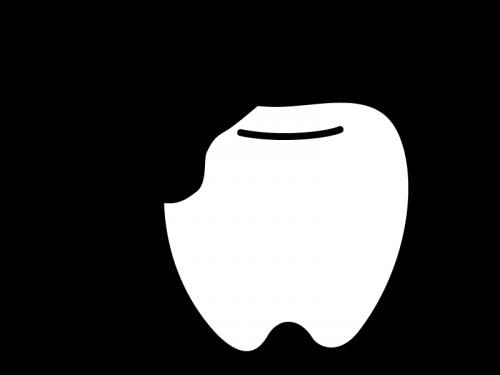 虫歯の白黒イラスト