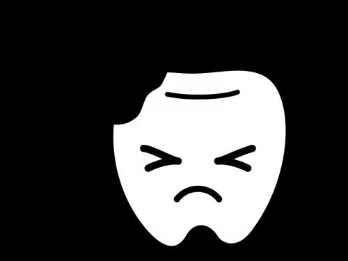 虫歯のキャラクターの白黒イラスト02