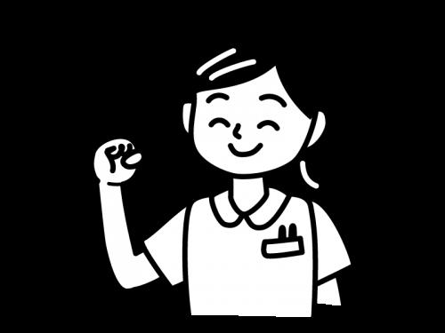 ガッツポーズのナース・看護師の白黒イラスト