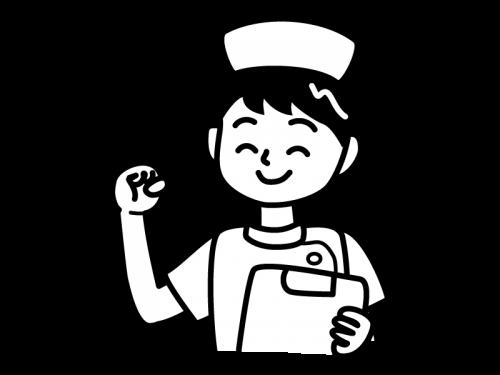 ガッツポーズのナース・看護師の白黒イラスト02